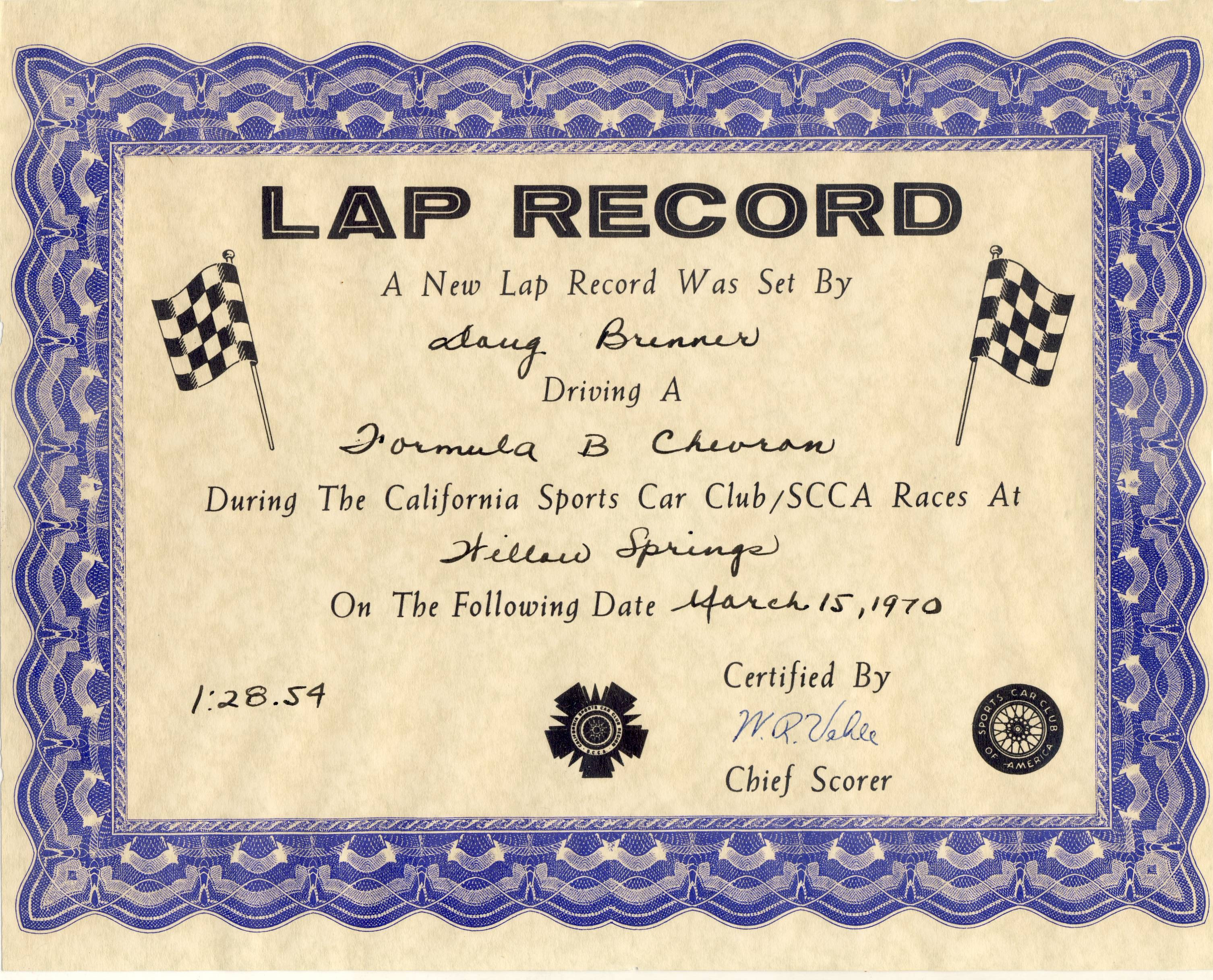 lap record certificate