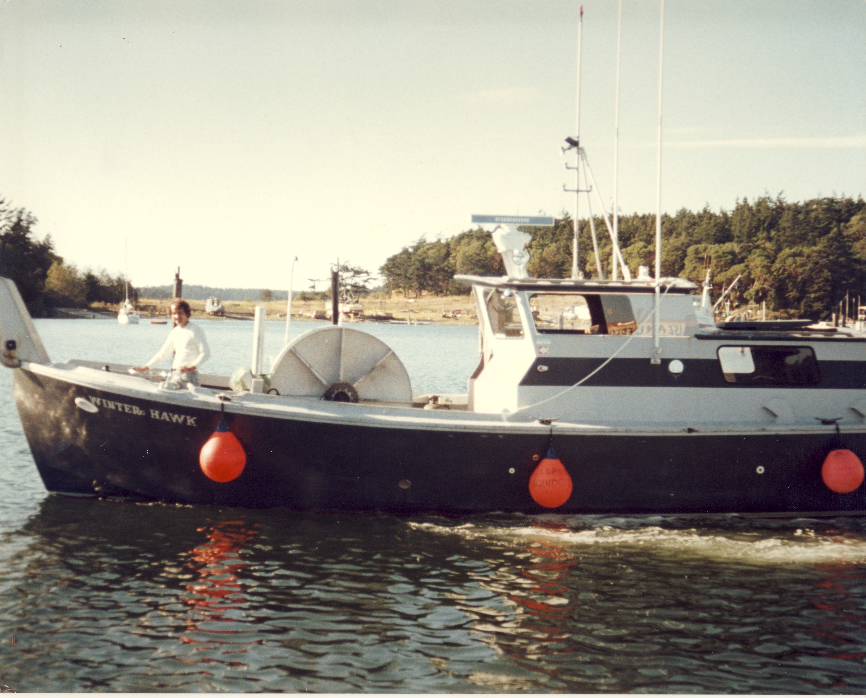 Douglas and FV Winter Hawk in McKay Harbor, Lopez Island Washington 1982
